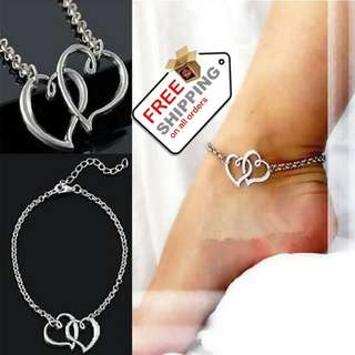 Sandals Anklets For Women Double Heart Chain Anklets Summer Foot Jewelry  + Free Shipping