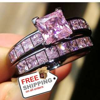 2x Black Gold Plated Wedding Ring Set Princess Cut Purple Jewelry  + Free Shipping