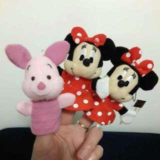 正版迪士尼 筆套 手指套 故事布偶 親子遊戲 米妮 維尼 小朱 小豬