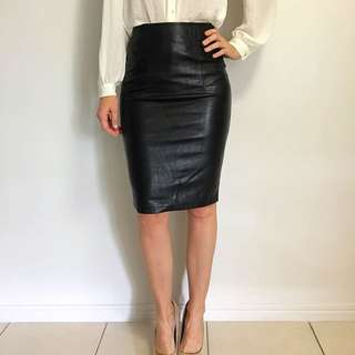 Dissh Black Faux Leather Skirt Size 6 And 8