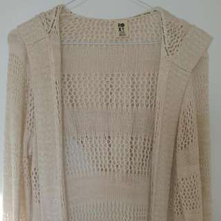 Wide Knitted Hooded Cardigan