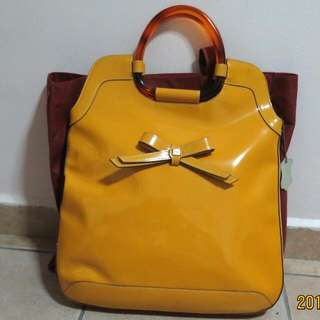 SELDOM USED- YELLOW-ORANGE COLOUR-HILLY HANDBAG