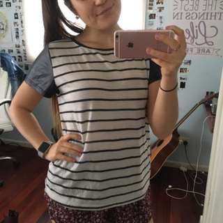 Faux Leather Sleeve Stripped T-shirt