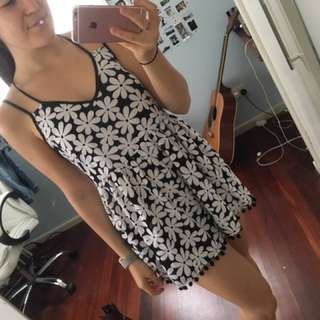Black And White Floral Playsuit