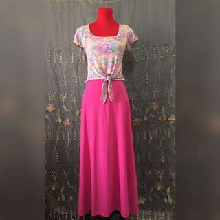Pink maxi skirt stretchable