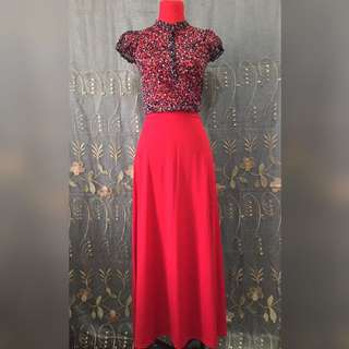 red maxi skirt stretchable