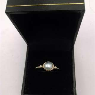 Genuine 9CT Yellow Gold Freshwater Pearl Ring