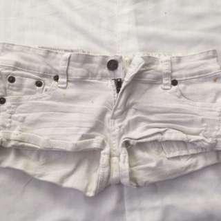 White Skimpy shorts