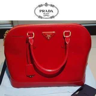 Authentic Prada Saffiano Vernic Rosso Handbag