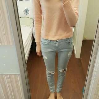 正韓 韓國 休閒刷破造型淺色牛仔長褲 L