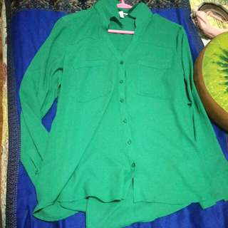 Green Formal Blouse With Sleeves Large