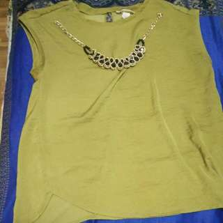 Olive Green Blouse Size 40 Large