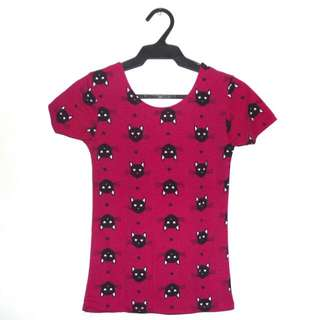 Cat Print Low Back Top