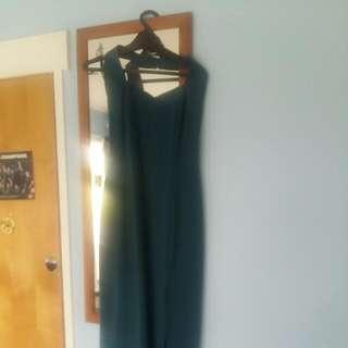 Green Holter Neck Ball Dress