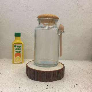 Glass Bottle with Wooden Cover & Spoon