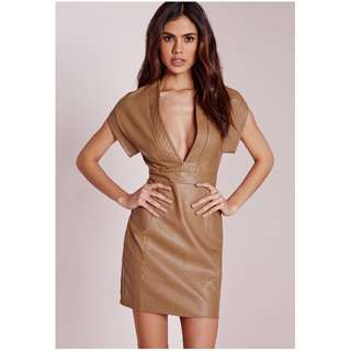 MISSGUIDED Faux Leather Bodycon Dress Tan