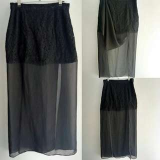 Black Split Skirt