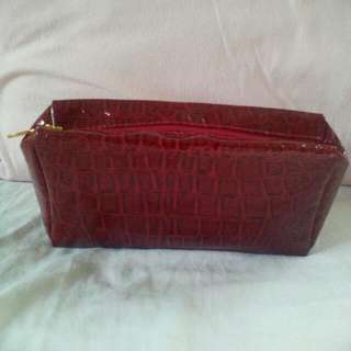 Red Leather Pouch Bag