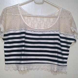 Stripe Lace Rib Crop Top (S)