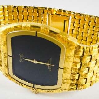 Longines Vintage Men's Wide Gold Tone Band Black Face Swiss Quartz Watch rolex omega tissot rado seiko casio