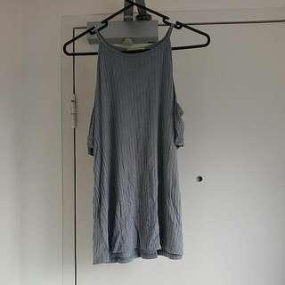 Off Shoulder Gray Shirt