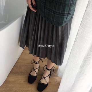 求售出含運費😭)23/23.5只穿過一次 韓製 綁帶平底鞋❤️