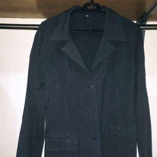 Navy Blue Vertical Striped Coat