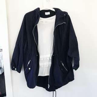 WITCHERY navy parka jacket size 8