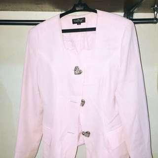 Light Pink Heart Buttoned Coat