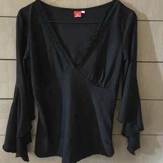 V Neck Bell Sleeve Top.