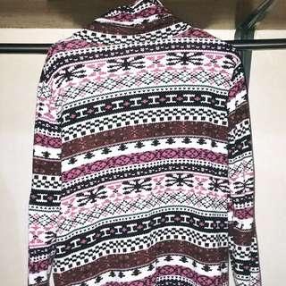 Aztec Print Turtle Neck Pullover