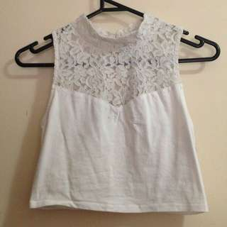 Dotti Lace High Neck Crop Top