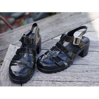 Black Heeled Jellies - sz 8