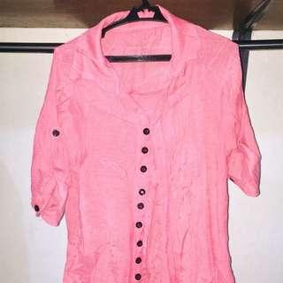 Pink Long Sleeve Polo