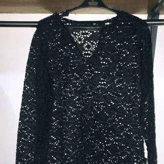 Black Long Sleeve Bikini Cover Up