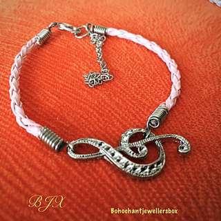 Pink Leather Cord Bracelet W/ G Clef Charm