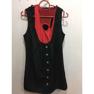 Black Dress come with pink singlet