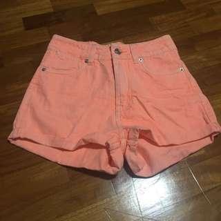 Factorie Orange High Waist Shorts
