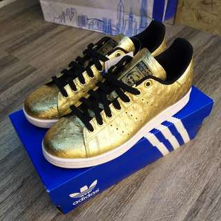 Rare Adidas Stan Smith In Gold Ostrich Leather!