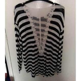 Lily Loves - striped mesh insert jumper - BRAND NEW.