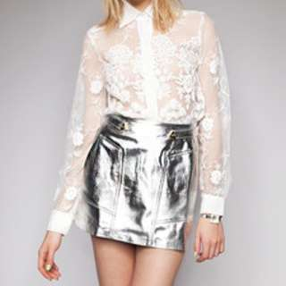 Shakuhachi Silver bullet leather skirt size 6