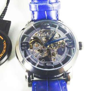 Stuhrling Winchester Automatic Skeleton Gunmetal Blue Men's Watchrolex omega seiko tissot casio