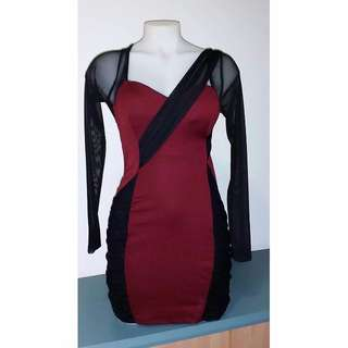 Ice-Black & Burgundy Mesh Evening Dress