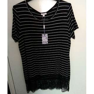 Lily Loves - Lace hemmed tee. Brand new. Size 10.