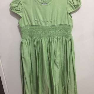Smocked Green Dress