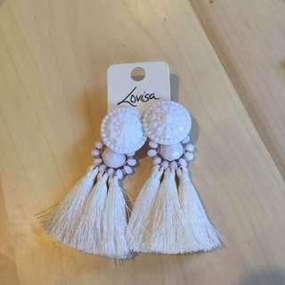 Lovisa White Tassel Earrings
