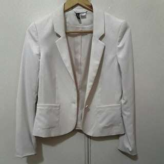 H&M Beige Blazer With Shoulder Pads