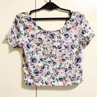 全新H&M短板花朵 碎花上衣 t恤