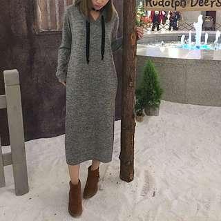灰色棉質連帽側邊開叉-開衩洋裝-連身裙