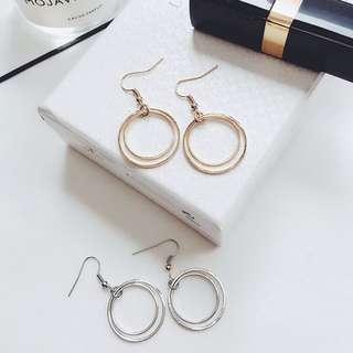 雙層小圓圈耳環